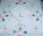 42 Inch Round Tablecloth PINK Applique ROSES + 4 NAPKINS