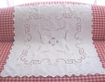 Stunning White Linen Tablecloth Topper Cutwork Embroidery Butterflies