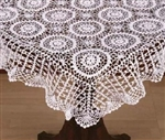 "36"" Square Medallion Design Hand Crocheted Tabletopper White"