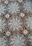 36 Inch Square Pinwheel Design Hand Crocheted Tabletopper White