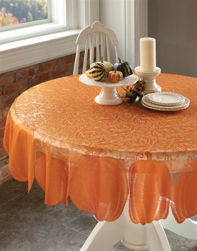 Pumpkin And Leaves Orange Lace Tablecloth ...