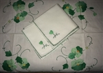 34 Inch Square Crisp White Tablecloth Green Appliqued Flowers + 4 Napkins Sweet