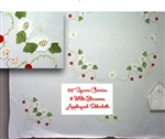 52 Inch Square Crisp White Tablecloth Appliqued Red Cherries & Blossoms