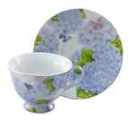 Blue Hydrangeas and Butterflies Sweet Cup and Saucer DISCOUNT on Quantities