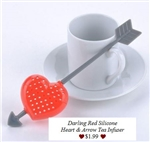 Cupids Arrow & Red Heart Silicone Tea Infuser Tea Strainer Fun