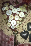 Antique Look Valentine Fabric Heart Vintage Buttons and Key Hangs