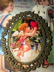 Large Victorian Cupid with Heart Glass Domed Magnet or Pin Finder Elaborate Bronze Frame