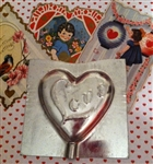 New Vintage Old Stock Valentine Heart LOVE Metal Chocolate Lollipop Mold