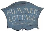 Darling Summer Cottage Sign Dreamy Blue with Timeworn Crackle Finish Lovely!