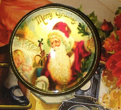 """1 /"""" Christmas Crystal Dome Button Santa Claus FREE US SHIPPING"""