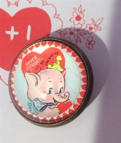 Crystal Glass Dome Button Vintage Retro Valentine Card Darling – Elephant Valentines Card