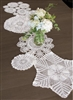 Hand Crocheted WHITE Doily Doilies Runner Nanas Vintage Look 50 Inch Long