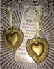 2 Gold & Pewter Sacred Heart Metal Christmas Ornaments Inspiring Beauty