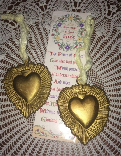 2 Gold Pewter Sacred Heart Metal Ornaments Inspiring Beauty