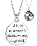 Sister Necklace Someone to Sing Cry Dream & Laugh With Heart Design Perfect Gift