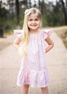 Pink & Gold Tiny Bows butterfly sleeves dress