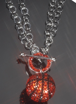 19mm Pavé Crystal Basketball Togggle Necklace