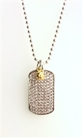 sterling, crystal dog tag with pickleball charm