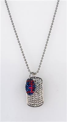 Sterling and Crystal Dog Tag with football Charm