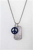 Sterling and Crystal Dog Tag with Heart Charm