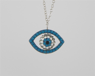 evil eye sterling silver and crystal pendant