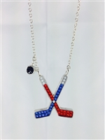 crystal and sterling  hockey necklace
