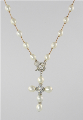 hand knotted freshwater pearl cross necklace