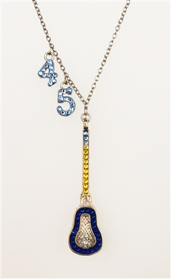 sterling silver lacrosse pendant necklace with Swarovski crystals
