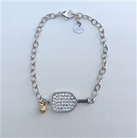 reversible pickleball bracelet with Swarovski crystal
