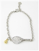crystal and sterling adjustable tennis racquet bracelet
