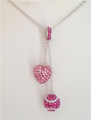Crystal pavé heart and tennis ball necklace