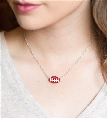 football slider crystal necklace