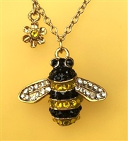 bumblebee pendant, necklace, sterling silver, gold,