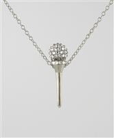 Crystal and sterling silver golf tee pendant
