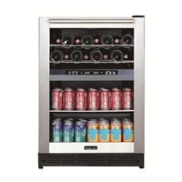 "Magic Chef BTWB530ST 24"" Dual Zone Built-in Wine & Beverage Cooler"