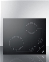 "Summit CR2B121 21"" Smoothtop Electric Cooktop 2 Burners Black 115 Volt Built In"