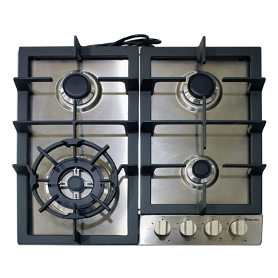Magic Chef MCSCTG24S 24-Inch Gas Cooktop 4 Burners Stainless Steel