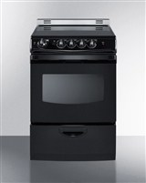 "Summit REX243BRT 24"" Slide In Electric Range Black"