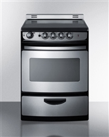 "Summit REX245SSRT 24"" Slide In Electric Range Stainless Steel"