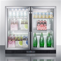 "Summit SCR7012DB 36"" 7.4 cu.ft. Freestanding Compact Beverage Center W/Lock"