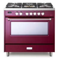 Verona Designer Series VDFSGE365BU 5.0 Cu. Ft 36 inch Dual Fuel Range Oven 2 Convection Fans 5 Sealed Brass Burners Burgundy
