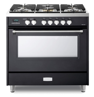 Verona Designer Series VDFSGE365E 5.0 Cu. Ft 36 inch Dual Fuel Range Oven 2 Convection Fans 5 Sealed Brass Burners Matte Black