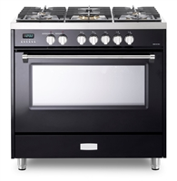 Verona Designer Series VDFSGE365GB 5.0 Cu. Ft 36 inch Dual Fuel Range Oven 2 Convection Fans 5 Sealed Brass Burners Gloss Black