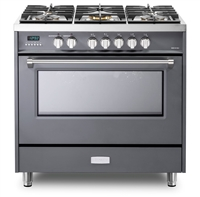 Verona Designer Series VDFSGE365SG 5.0 Cu. Ft 36 inch Dual Fuel Range Oven 2 Convection Fans 5 Sealed Brass Burners Slate Gray