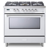 Verona Designer Series VDFSGE365W 5.0 Cu. Ft 36 inch Dual Fuel Range Oven 2 Convection Fans 5 Sealed Brass Burners White