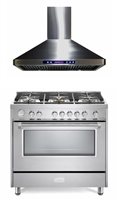"Verona Designer Series 36"" All Gas Range Oven With Hood Package Stainless Steel"