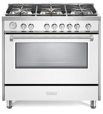 "Verona Designer Series VDFSGG365W 36"" All Gas Range Oven White"