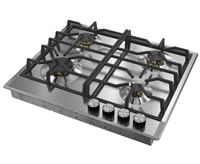 Verona Designer Series VDGCT424FSS 24 Inch Gas Cooktop with 4 Brass Sealed Burners, Continuous Grates Stainless Steel
