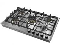 Verona Designer Series VDGCT530FSS 30 Inch Gas Cooktop with 4 Brass Sealed Burners, Continuous Grates Stainless Steel
