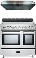 "Verona VEFSEE365DSS 36"" Electric Double Oven Range Stainless 2pc Kitchen Package"